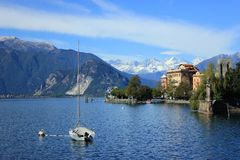 Nice view from Lago Maggiore to Switzerland alps stock images