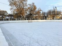 A nice view of a large outdoor ice hockey rink in Edmonton, Alberta, Canada. stock photography