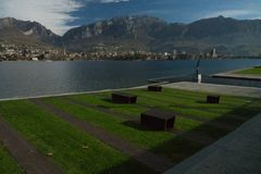 View of lecco. A nice view of Lecco city from Malgrate, On the Lake of Como royalty free stock photo