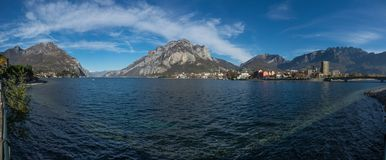 View of lecco, Panorama. A nice view of Lecco city from Malgrate, On the Lake of Como. November 2017. The main church Stock Images