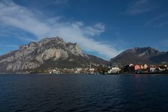 View of lecco, Panorama. A nice view of Lecco city from Malgrate, On the Lake of Como. November 2017. The main church Panorama stock photography