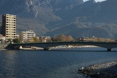 View of lecco. A nice view of Lecco city from Malgrate, On the Lake of Como. November 2017. The main church Royalty Free Stock Photos