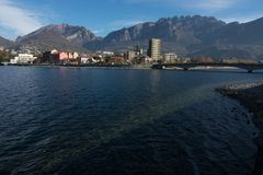 View of lecco. A nice view of Lecco city from Malgrate, On the Lake of Como. November 2017. The main church Stock Images