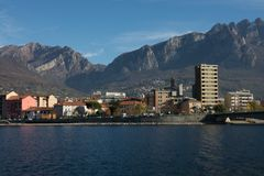 View of lecco. A nice view of Lecco city from Malgrate, On the Lake of Como. November 2017. The main church stock image