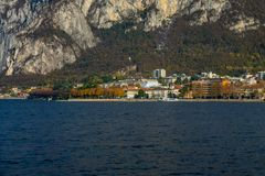 View of lecco. A nice view of Lecco city from Malgrate, On the Lake of Como. November 2017. The main church stock photography