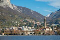 View of lecco. A nice view of Lecco city from Malgrate, On the Lake of Como. November 2017 Royalty Free Stock Image