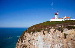 Nice view of a lighthouse with the ocean in Portugal Royalty Free Stock Photos