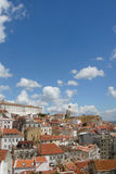 Nice view of Lisbon. View of Lisbon with red roofs and blue sky stock photography