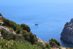 Nice view from mountain to sea with ship Royalty Free Stock Images