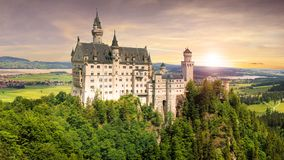 Nice view of Neuschwanstein castle in Bavaria, Germany, Europe royalty free stock photography