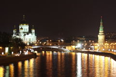 Nice view of the night in Moscow. Russia Stock Photo