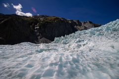 Nice view over the Flanz Josef Glacier with a clean sky stock photos