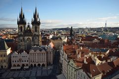 A nice view over Prague. A shot from Prague taken in the early morning when the city was starting awaking royalty free stock photos