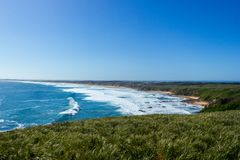 Nice view over Woolamai beach on a sunny day, philip island. Victoria, australia stock image