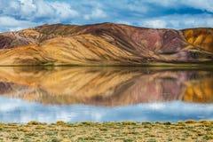 Nice view of Pamir in Tajikistan. Beautiful view of  Bulunkul Lake in Pamir in Tajikistan Stock Photo