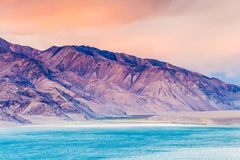 Nice view of Pamir in Tajikistan. Beautiful view of  Yashikul Lake in Pamir in Tajikistan Royalty Free Stock Photos