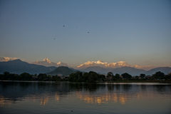 Nice view from Phewa Lake Pokhara to the peak called fishtail. Nice view in pokhara Nepal from the lake Stock Image