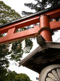 Nice view of a red torii gate in Japan stock photo