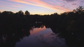 Nice view of the river at night. Sunset in the Woods by the river stock video footage