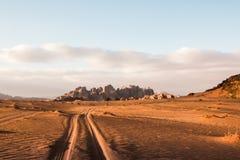 Nice View Sand And Big Rocks In Wadi Rum Desert In Jordan Royalty Free Stock Photos