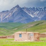 Nice view on Sary-Mogul a village. Beautiful view of the Pamir mountains in the Sary-Mogul area Royalty Free Stock Photography