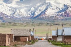 Nice view on Sary-Mogul a village. Beautiful view of the Pamir mountains in the Sary-Mogul area Stock Image