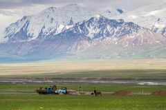 Nice view on Sary-Mogul a village. SARY-MOGUL, KYRGYZSTAN - CIRCA JUNE 2017: View on Sary-Mogul a village of around 3000 people on the north side of the Alay Stock Photos