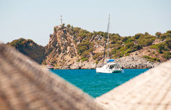 Nice view of the sea, ship and hilly bank Royalty Free Stock Image