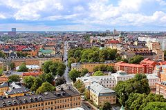 Nice view of Stockholm from City hall, Sweden Stock Photography