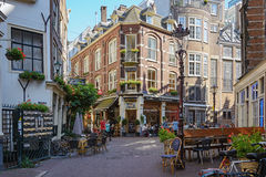 Nice view of the street in Amsterdam. Royalty Free Stock Image