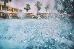 Swimming pool. Nice view of the swimming pool with waterfall Royalty Free Stock Image