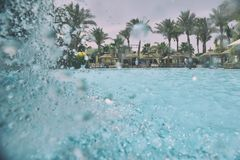 Swimming pool. Nice view of the swimming pool with waterfall Stock Image