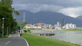 Nice view of Taipei Central River bike path, Taiwan Royalty Free Stock Images