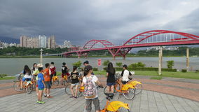 Nice view of Taipei Central River bike path, Taiwan Royalty Free Stock Photos