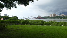Nice view of Taipei Central River bike path, Taiwan Royalty Free Stock Photography