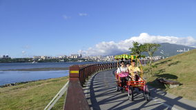 Nice view of Taipei Central River bike path, Taiwan Stock Images