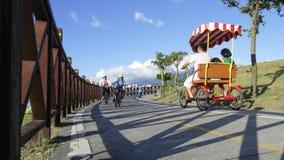 Nice view of Taipei Central River bike path, Taiwan Stock Photo