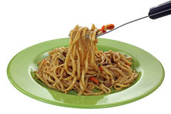 Teriyaki Noodles on Fork Royalty Free Stock Photo