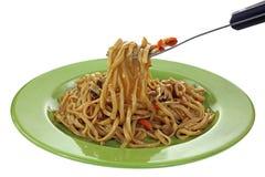 Teriyaki Noodles on Fork. A nice view of teriyaki noodles on fork Royalty Free Stock Photo