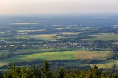 Nice view to small village from kravi mountains on sunset, Czech royalty free stock photos