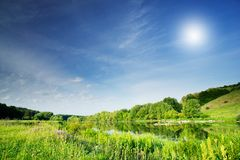 Nice view of wonderful river and blue sky. Royalty Free Stock Images