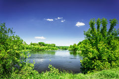 Nice view of wonderful river and blue sky. Stock Photography