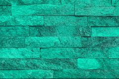 Nice Vintage Teal, Sea-green Natural Quartzite Stone Bricks Texture For Background Use. Stock Photography