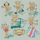 Nice vintage vector monkey set. EPS8 Stock Images