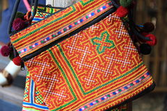 Nice vivid handcraft bag. Hill tribe handcraft Royalty Free Stock Images