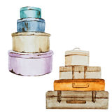 Nice watercolor baggage Royalty Free Stock Images