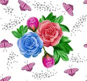 Nice watercolor flowers and butterflies seamless pattern Royalty Free Stock Images