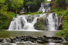 Nice waterfall in autumn forest Royalty Free Stock Photo
