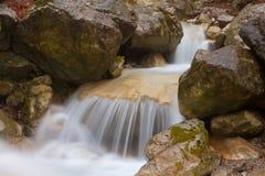 Nice waterfall on mountain river Royalty Free Stock Image