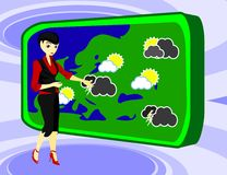 Nice weather predictor. Nice girl reports weather forecast Royalty Free Stock Photo